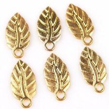 70pcs New Charms Gold Plated Leaf Shape Zinc Alloy Pendant Jewelry Findings D