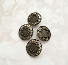 2 Vintage Style Metal Buttons - Alloy/Antique/Bronze/Sew/Large/Gold/Oval/29x27mm