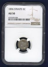 STRAITS SETTLEMENTS VICTORIA 1896 5 CENTS SILVER COIN, CERTIFIED NGC AU-50