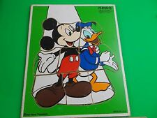"""playschool Disney vintage wooden puzzle Micky Mouse Donald Duck 190-13 11""""-12"""""""