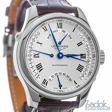 Longines Master Collection Retrograde Day & Date Automatic Watch Brown Leather