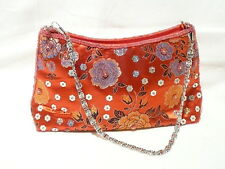 "HANDBAG 22 x 14 CM ""RED BEADED CHINESE SILK"" CHAIN STRAP ""NEW"" AUZ SELLER"