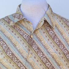 Burma Bibas Hawaiian Shirt XL Tapa Cotton Lawn Beige Brown Blue Hong Kong Floral