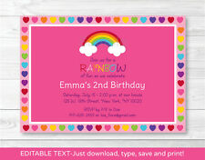 Rainbow Hearts Printable Birthday Invitation Editable PDF