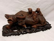 Antique Chinese Hand Carved Ox Statue Figurine Elders Monk Riding Back Glass Eye
