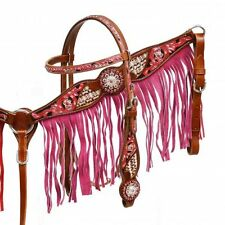 WESTERN HORSE PINK BLING! BRIDLE BREAST COLLAR PLATE SET W/ PINK LEATHER FRINGE
