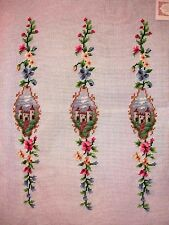 EP 3075 Castle Medieval Luggage Straps Vintage Preworked Needlepoint Canvas