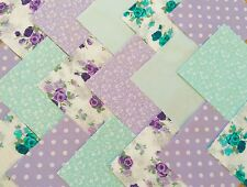"""50 x 4"""" fabric patchwork Square Purple Green Mix Floral Dot quilting Craft Chic"""