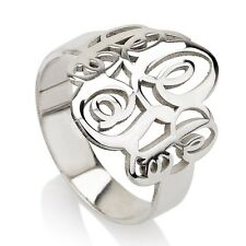 Monogram Ring Silver Personalized Initial Letter Monogrammed Name Ring Women