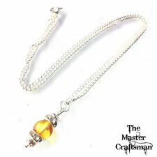 "☆17"" GENUINE BALTIC AMBER BEAD NECKLACE PENDANT CHAIN 925 STERLING SILVER PLATE"