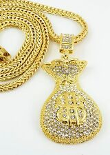 "Hip Hop Gold plated Bling Money Bag Pendant with 36""Chain Necklace G41"