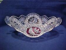 "Hofbauer Crystal RUBY RED BIRD BYRDES COLLECTION 13 3/4"" OVAL HANDLED BOWL"