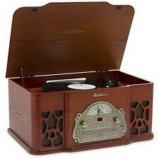 Vintage Look Turntable Record Player Wood Stereo System CD Radio For Smart Phone