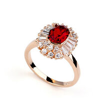 STUNNING 18K ROSE GOLD PLATED RUBY RED GENUINE AUSTRIAN CRYSTAL AND CZ RING