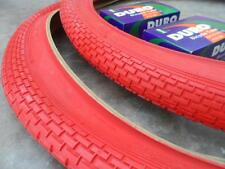 Two(2) Duro 26x2.125 Beach Cruiser Bicycle Tires & 2 tubes Brick Pattern All RED