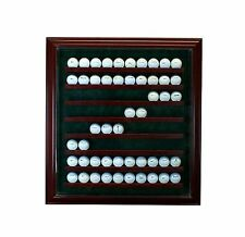 80 Golf Ball Cabinet Style Display Hinged Door Glass Suede Cherry with Green
