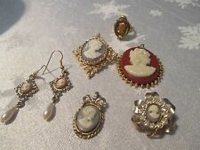 VINTAGE LOT OF COSTUME CAMEO JEWELRY - PINS, RING, EARRINGS, PENDANTS