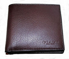 NWT COACH MEN'S CALF LEATHER DOUBLE BILLFOLD SPORT WALLET Brown/Mahogany F75084