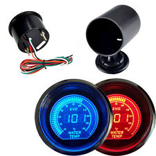"Car HS Red & Blue 2"" 52MM Digital LED EVO Water Temperature Gauge with Holder"
