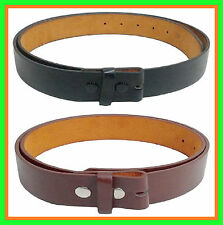 Black Belt Strap Snap on Plain Leather NO BUCKLE Men Women S M L XL +long sizes