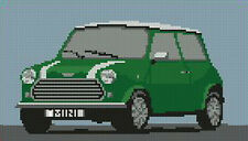 """Classic Mini Cooper Green Cross Stitch Kit 10"""" x 5.7"""""""