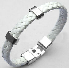 Fashion Men Women Leather Wrap Wristband Cuff Magnetic Clasp Bracelet Bangle