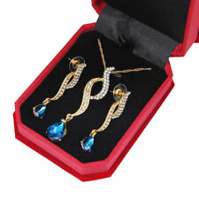 Blue Zircon Pendant Necklace Set Wedding Gold Plated chain Jewelry Sets