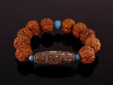 "Huge Old 9-eye dZi Bead Rudraksha Bodhi Seed Turquoise Bracelet 8"" Strong Energy"