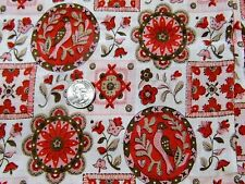 "Vintage Pink Red Brown Floral Birds Cotton Curtain Craft Quilt Fabric 36"" BTHY"