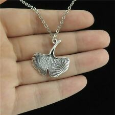 "8-5 18"" Silver Short Chain Collar Choker Necklace Girl Plant Ginkgo Leaf Pendant"