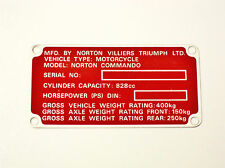 Registration Badge red frame tag ID plate 850 Norton Commando NOS Villiers