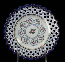 """6 Floral Inspired Blue & White Plates with Gold Accent and Lace Edge 7 3/8"""" Dia."""