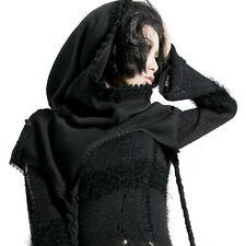 S125 Punk Rave Visual kera Gothic Black Unisex Swallow-tail Cloak Hooded Shawl