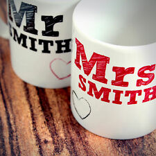 Personalised Mr and Mrs Mug Set, Great Wedding, Anniversary, Christmas Gift