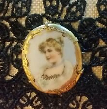 Antique Limoges Gold Filled Brooch Pin Miniature Portrait Hand Painted Victorian