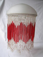 Vintage Original Art Nouveau Glass Long Beaded Fringe Lampshade Lightshade