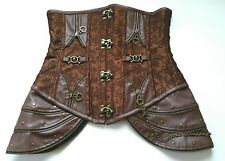 Charmian Size L Brocade Steel Boned Steampunk Faux Leather Underbust Corset Top