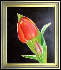 Framed Single Red Tulip with Bud, Quality Hand Painted Oil Painting 20x24in