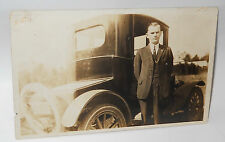 Vintage 1910`s RPPC Real Photo Postcard of Man with Ford Model T