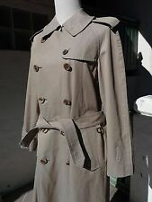 Vintage Women's Burberry Burberrys Olive Green Khaki Brown Trench Coat Size L