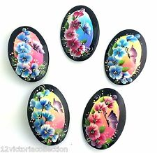 1 (ONE)  pin Flower & butterfly Russian hand painted lacquer Brooch
