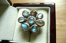 SALE!LARGE PRETTY LABRADORITE 925 STERLING SILVER ETHNIC RING SIZE Q US Size 8.5