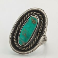 Antique C. 1950 Sterling Silver Native Pawn Navajo Carico Lake Turquoise Ring!
