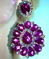 Rhinestone Clip On Chandelier Earrings Bridal Prom Pageant 3.5 inch Purple Drag