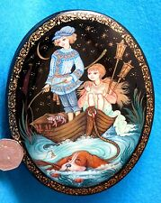 Russian hand painted Kholui Lacquer trinket box Fishing Children Orlova signed