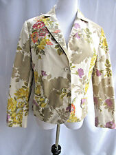 Oilily  Jacket Womens Blazer Floral Lined Long Sleeves Cotton Size 44 12-14
