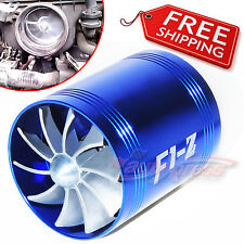 AIR INTAKE DUAL FAN BLUE Turbo Supercharger Turbonator Gas Fuel Saver fit SUZUKI