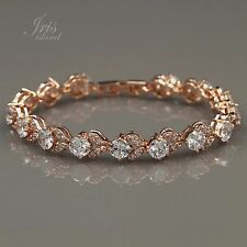 7 In Rose Gold GP Round Cut Clear Cubic Zirconia CZ Tennis Bracelet 00845 New