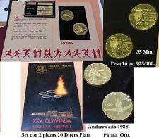 ANDORRA. año 1988. 2 Monedas PLATA 20 DINERS. Barcelona - Albertville Olimpiada.