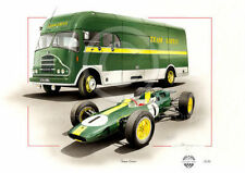 LOTUS 25 CLIMAX JIM CLARK TEAM LOTUS TRANSPORTER BUS 1962 NEW PAINTING PRINT ART